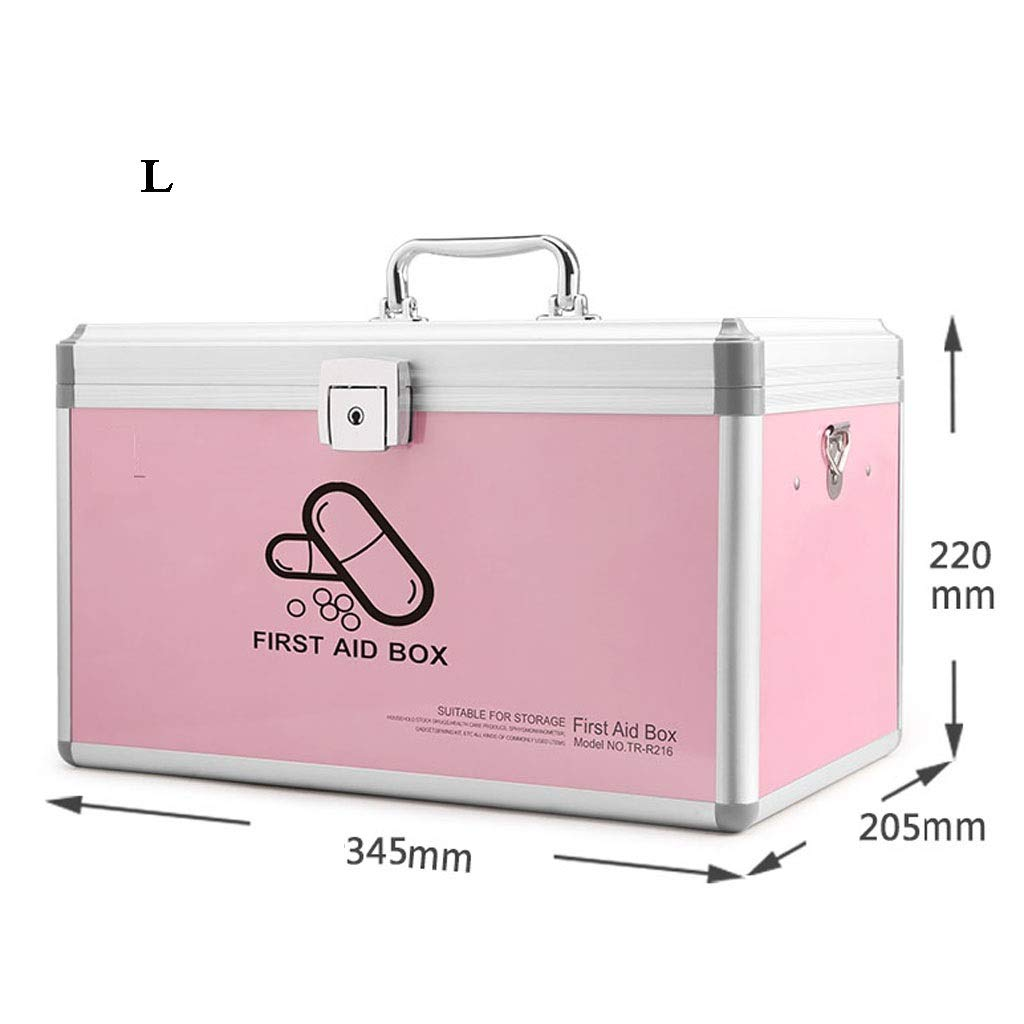 Large Djyyh Medical Metal Case with Lock, Medical Emergency Storage Box with Handle 2 Layers Medical Storage Kit (Size   S)