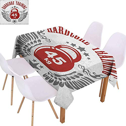 Marilec Elegance Engineered Tablecloth Fitness Bodybuilding Themed Emblem in Vintage Style Hardcore Training Wings Stars and Durable W50 xL80 Red White Silver