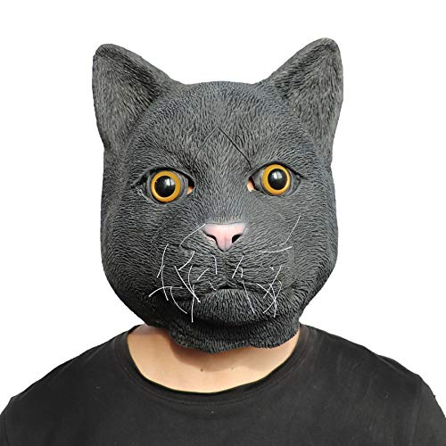 ifkoo Black Cat Mask Halloween Costume Party Novelty Animal Head Rubber Latex ()