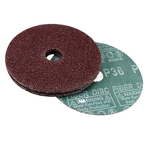 5-inch aluminum oxide resin fiber discs 10 packages Center hole 36 grit sanding discs X 7//8 in