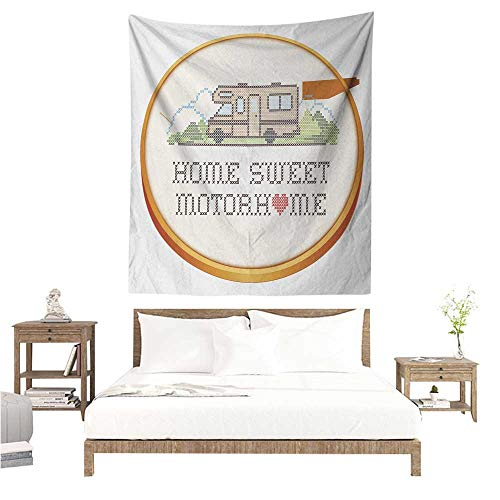 WilliamsDecor Dormitory Decorated Sand Tapestry Home Sweet Home Embroidery Hoop Cross Stitch Needlework Sewing Design Trailer Home Print 60W x 80L INCH Suitable for Bedroom Living Room -