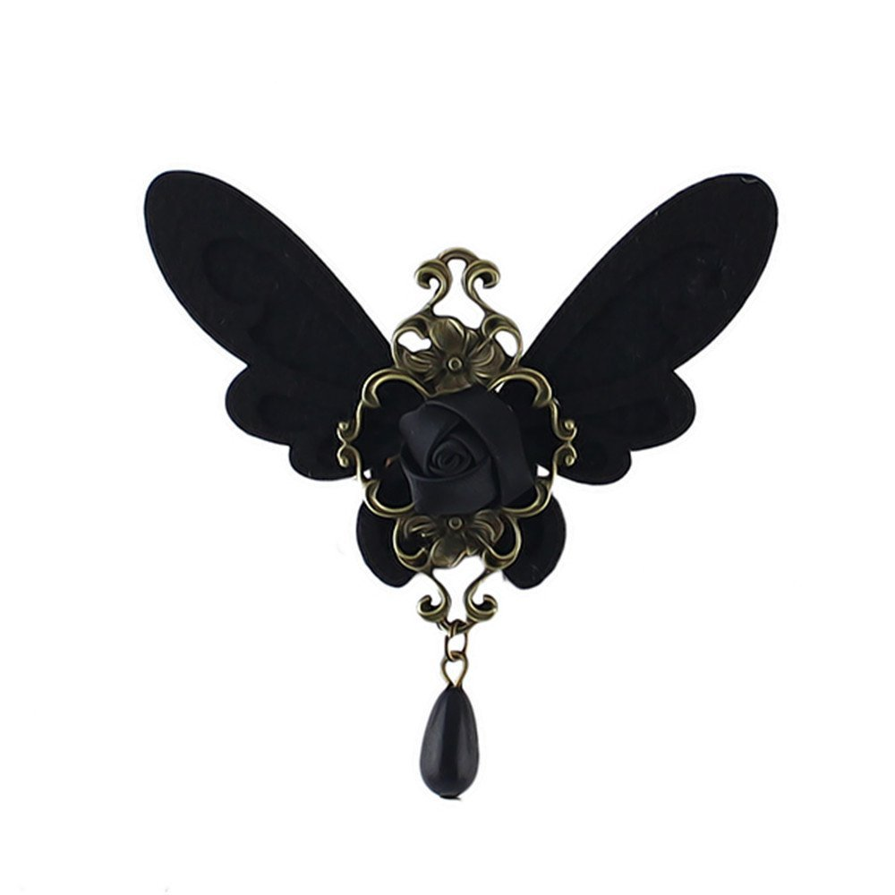 Feelontop® Gothic Style Black Butterfly Rose Brooch for Women with Free Jewelry Pouch PB-5114-black