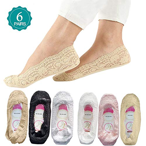 Lace socks for women SNUG STAR Fashion Liner Socks 6 Pairs Lace Non Slip Socks