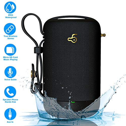 Bluetooth Speakers 5.0, Portable Wireless Speaker, IPX56 Waterproof Speaker with Bass, 10W Stereo Loud Speaker (TWS) with Built-in Mic, 12Hours Playtime for Cell Phone Android IOS Home Outdoor Party