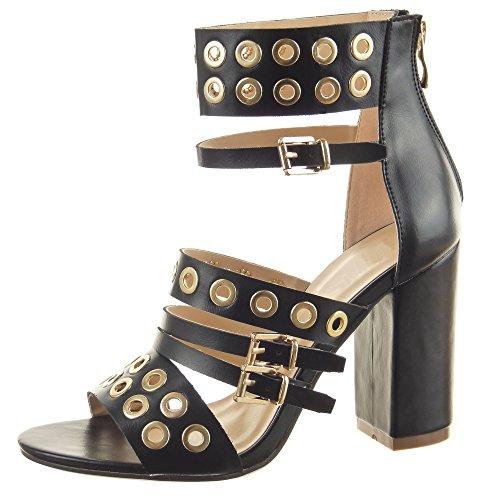 Sopily - Zapatillas de Moda Sandalias Botines Abierto Caña baja mujer multi-correa Perforado metálico Talón Tacón ancho alto 9.5 CM - Negro