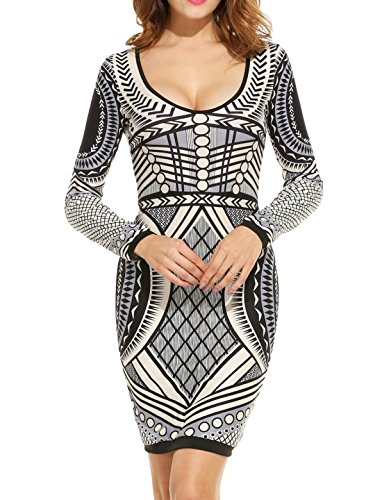 Zeagoo Women's Long Sleeve Bodycon Dress Printing Cocktail Party Dresses