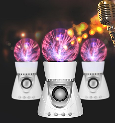 HIOTECH Portable Bluetooth Speaker, Electrostatic Plasma Ball TF Card Bluetooth Speaker Magic Light Touch Wireless 3D Stereo Subwoofer Lightening Ball Music Speaker (White Silver) by HIOTECH