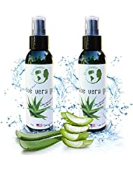 Organic Aloe Vera Gel – 2 Pack (Two 4 oz Bottles) for Acne, Razor Burn, Bug Bites, Dry or Sunburned Skin - 4 oz bottles convenient for purse, diaper bag, car glove box, etc.