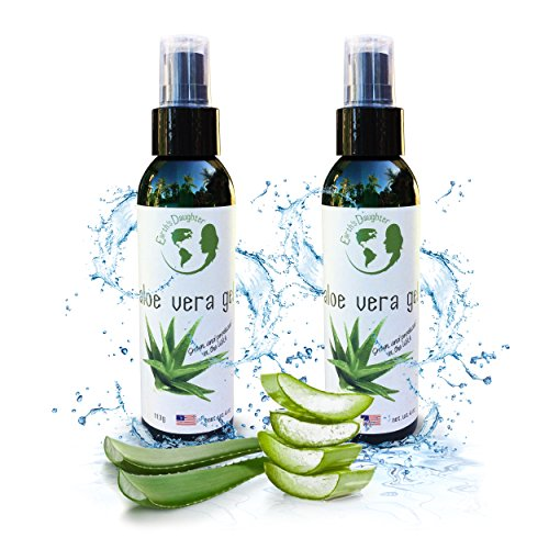Aloe Vera Bottle - Organic Aloe Vera Gel – 2 Pack (Two 4 oz Bottles) for Acne, Razor Burn, Bug Bites, Dry or Sunburned Skin - 4 oz bottles convenient for purse, diaper bag, car glove box, etc.