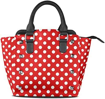 b099cc9de Use4 Women's Red White Polka Dot Rivet PU Leather Tote Bag Shoulder Bag  Purse
