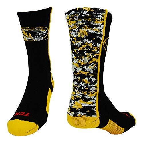 Missouri Digital Camo Crew Socks (BlackGold/White, Large) (White Digital Camo Shorts)