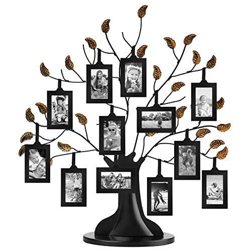 Americanflat Bronze Family Tree Frame with 12 Hanging Picture Frames Each Sized 2