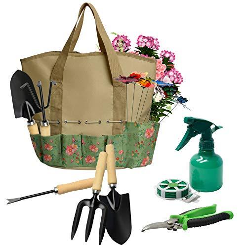 17 Pieces Garden Tools Set, Heavy Duty Gardening Hand Tool Kits with Sturdy Fabric Storage Bag, Gardening Set Planting…
