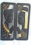 2 PCS THAI WELCOME MAN AND WOMEN SCULPTURED PICTURE HANDICRAFT HANGING WALL WOOD CARVING BLACK GOLD CULTURE THAILAND DECOR