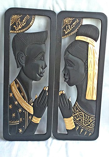 2 PCS THAI WELCOME MAN AND WOMEN SCULPTURED PICTURE HANDICRAFT HANGING WALL WOOD CARVING BLACK GOLD CULTURE THAILAND DECOR by Thailand