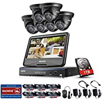 SANNCE Wired Security Camera System & 1TB HDD Storage - 8CH 1080N DVR Recorder with Monitor and 6x1500TVL Outdoor Dome Surveillance Camera, Email Alarm, Motion Detect