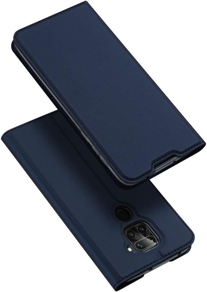 DUX DUCIS Redmi Note 9, PU Cuero Flip Carcasa Fundas Móvil de Tapa Libro para Xiaomi Redmi Note 9 (Azul Marino)