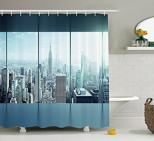 [House Decor Collection Aerial View of A Big Crowded Modern City from the Office New York Buildings Urban Life Theme Polyester Fabric Bathroom Shower Curtain Set Sky] (Nerd Costumes At Party City)