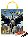 Dc Comics 'Batman' Inspired Kids Large Plastic Halloween Trick or Treat Candy Loot Bag!! Plus Bonus 'Safety First' Mini Halloween Flashlight Necklace!