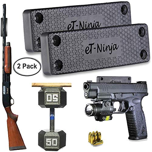 Magnetic Gun Mount Holster 53lb. - Gun Magnet Mount (2-Pack) - Discreet Tactical Concealed Carry Handgun Holder For Car Truck Under Desk Bedside Wall w/ Anti Scratch Rubber Coating