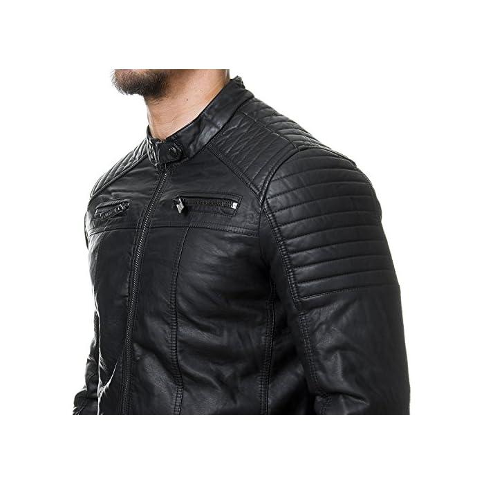 51bvLLNXBjL Elegante chaqueta de cuero sintética para Hombres de la marca Red Bridge Chaqueta fresca con área acanalada a lo largo de las mangas 100% Poliuretano; Forro: 100% Poliéster