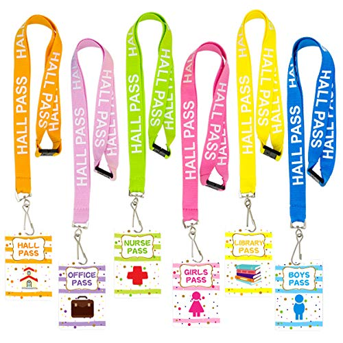 ceiba tree Hall Pass Lanyards Confetti-Themed Lanyard and School Passes Set of 6 for School Classroom -