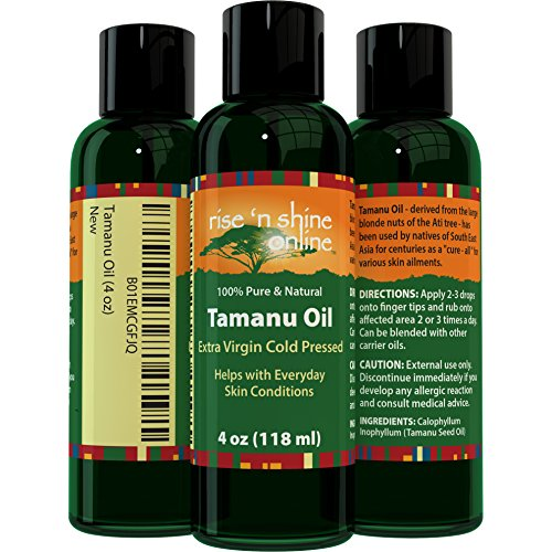 (4 oz) Pure Tamanu Oil with RECIPE EBOOK - 100% Organic, Unrefined and Cold Pressed Tamanu Nut Oil - Natural Relief for Dry Scaly Skin, Blisters, Eczema, Acne Scars, Psoriasis and Rejuvenates Hair