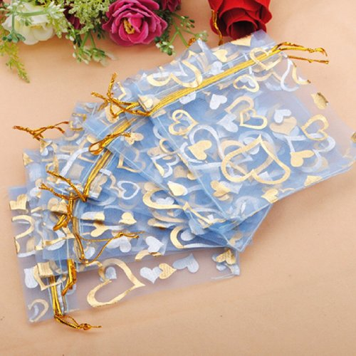 DMtse 100pcs Heart Blue Sheer Organza Jewelry Pouches Wedding Party Favor Gift Bags 3.8
