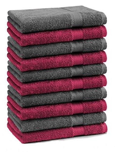 Betz 10er Pack Gästehandtücher Set 100% Baumwolle Gästetuch Größe 30x50 cm Premium Farbe Dunkel Rot & Anthrazit Grau