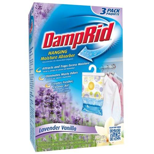 DampRid FG83LV Hanging Moisture Absorber Lavender Vanilla, 3-Pack, 1, Blue, 3 Count