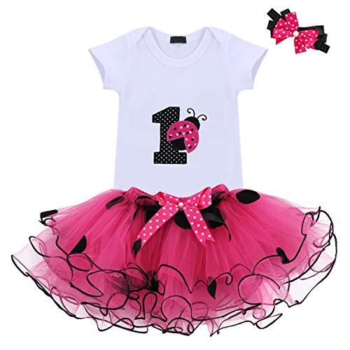 Baby Girls 1st Birthday Cake Smash 3pcs Outfits Set Cotton Romper Bodysuit+Tutu Dress+Flower Headband Princess Skirt Clothes (3pcs Hot Pink Ladybug) -