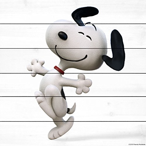 Peanuts MH-PNTS-03M-WW-40 Snoopy Dance Painting Print On White Wood, Multicolor, 40'' x 40'' by Marmont Hill