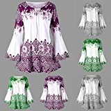 Womens Plus Size Floral Printed Flare Sleeve Tops