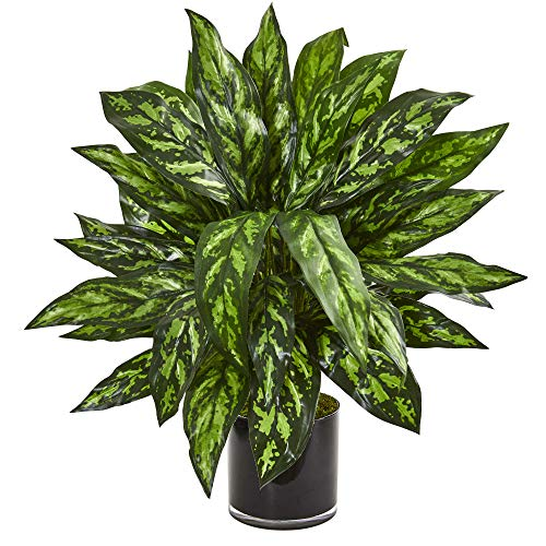 Nearly Natural 8415 Silver King Artificial Black Glass Vase Silk Plants, Green