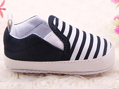Minetom Casuales Zapatos del Niño Zapatillas de Bebé Unisex Algodón Cómoda Mezcla Rayas Antideslizantes Zapatos azul
