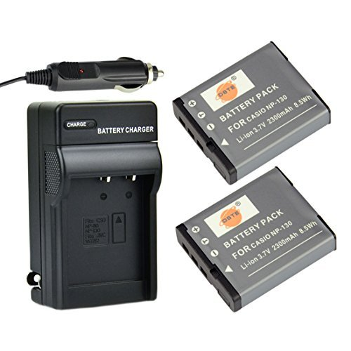 DSTE 2x NP-130 Battery + DC104 Travel Charger Kit for Casio Exilim EX-ZR700 EX-ZR800 EX-ZR850 EX-ZR1000 EX-ZR1200 EX-ZS1500 EX-10 EX-100 EX-H30 EX-ZR100 EX-ZR200 EX-ZR300 EX-ZR400 EX-ZR500 EX-ZR510 DST Electron Technological Co. Ltd DACS09B2