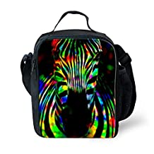 Coloranimal Personalized Colorful Zebra Printed Kids Lunch Boxes Heated Lunchbag