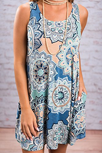 Casual Mini XL Falda Azul Mujer Tops Vestidos Mangas Sin Floral Vestido La wqXpxnHUw