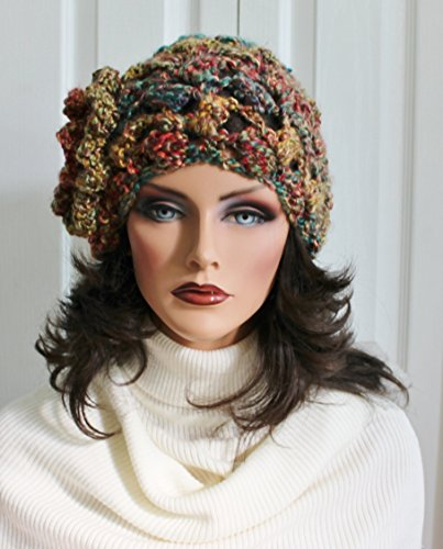 Cute Slouchy Hat with Button Accent Beanie Boho Womens Girls Teens Winter Beautiful Fall Colors]()