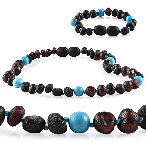 Premium Grade Amber Teething Necklace WITH Bracelet Set - Baltic Amber Teething Necklace in 3 Sizes - Relief for Baby, Toddler & Child - Teether with Unpolished Cherry Turquoise Amber Beads (14-15