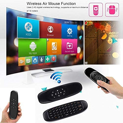 Calvas Wireless Remote Controller USB 3 in 1 2.4GHz Air Mouse Keyboard For Macbook PC For iPad Projector Smart TV Box Color: Black