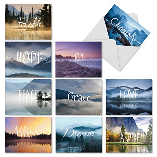 All Occasion Inspirational Cards Box of 10 4 x 5.12 Inch Small Blank Inspiration Greeting Cards with Envelopes Assorted Wordscapes Motivation Quote Card Faith, Peace, Love Note Card M6581OCBsl