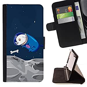 For HTC One M8 Funny Flying Space Dog Beautiful Print Wallet Leather Case Cover With Credit Card Slots And Stand Function