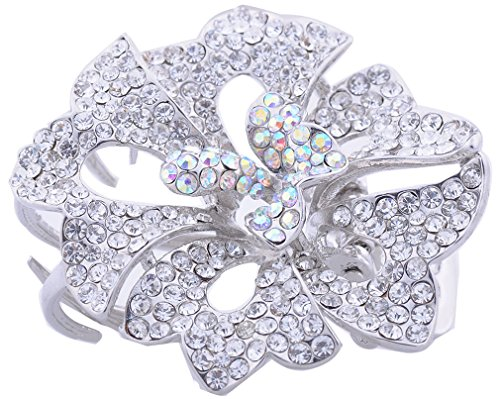 Silver Color Crystal Rhinestone Alloy Flower Hair Claw Clip Pin