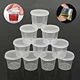 Wewin 1-Ounce Small Plastic Disposable Sauce Cups Food Storage Containers Clear Transparent Package Boxes 30-Pack with Lids