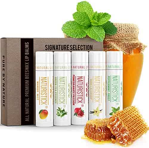 All-Natural Lip Balm Gift Set by Naturistick. 5 Best Moisturizing Beeswax Chapsticks for Healing Dry, Chapped Lips. Made with Aloe Vera, Vitamin E, Coconut Oil for Men, Women and Children. Made in USA