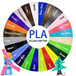 3D Pen/ 3D Printer Filament,1.75mm PLA Filament Pack of 24 Different Colors,High-Precision Diameter Filament, Each Color 20 Feet, Total 480 Feet Lengths by MerLion