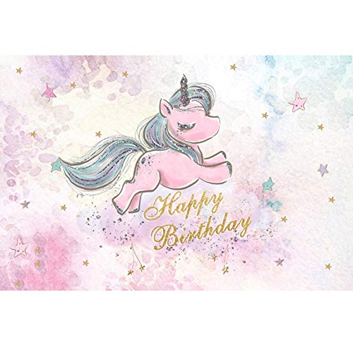 CSFOTO 8x6.5ft Hapy Birthday Backdrop for Girls Birthday Party Photogarphy Background Cartoon Watercolor Unicorn Starry Sky Dessert Table Kids Newborn Portrait Studio Props]()