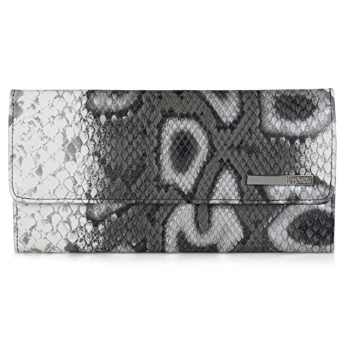 Kenneth Cole Reaction Womens Faux Leather Snake Print Elongated Trifold Clutch Wallet