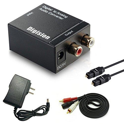 DIGISION Optical Digital to RCA L/R Analog Audio Converter